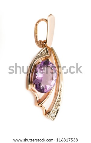 Pendant with amethyst and diamonds - stock photo