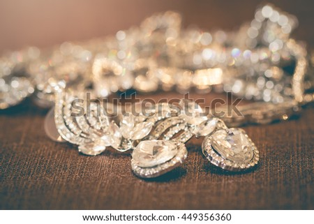 Pendent jewelry made of silver and diamond heart-shaped for women who are prepared to be a bride. - stock photo