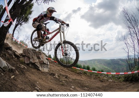 PENELA, PORTUGAL - SEPTEMBER 9: Leonel Henrique during the 6th Stage of the Taca de Portugal Downhill Vodafone on september 9, 2012 in Penela, Portugal. - stock photo