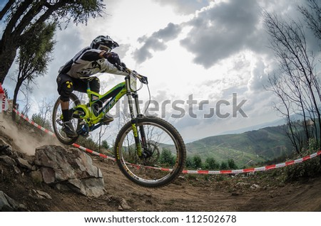 PENELA, PORTUGAL - SEPTEMBER 9: Luis Fortunato during the 6th Stage of the Taca de Portugal Downhill Vodafone on september 9, 2012 in Penela, Portugal. - stock photo