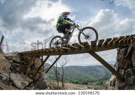 PENELA, PORTUGAL - SEPTEMBER 9: Paulo Basilio during the 6th Stage of the Taca de Portugal Downhill Vodafone on september 9, 2012 in Penela, Portugal. - stock photo
