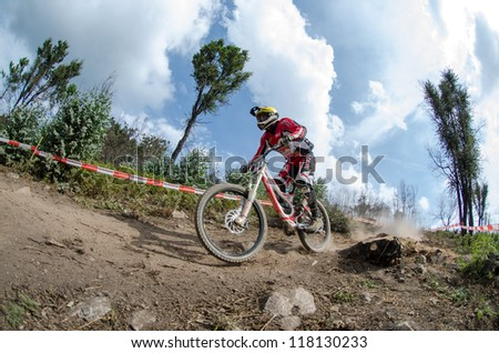 PENELA, PORTUGAL - SEPTEMBER 9: Paulo Domingues during the 6th Stage of the Taca de Portugal Downhill Vodafone on september 9, 2012 in Penela, Portugal.