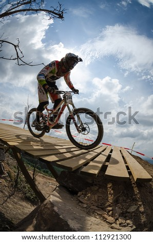 PENELA, PORTUGAL - SEPTEMBER 9: Rui Teixeira during the 6th Stage of the Taca de Portugal Downhill Vodafone on september 9, 2012 in Penela, Portugal.