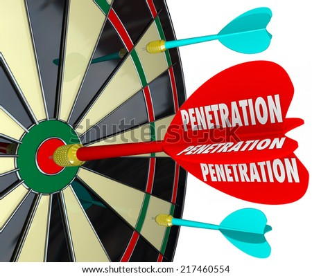 Penetration word on 3d red dart hitting center of board to illustrate infiltration or attack with great force and power - stock photo