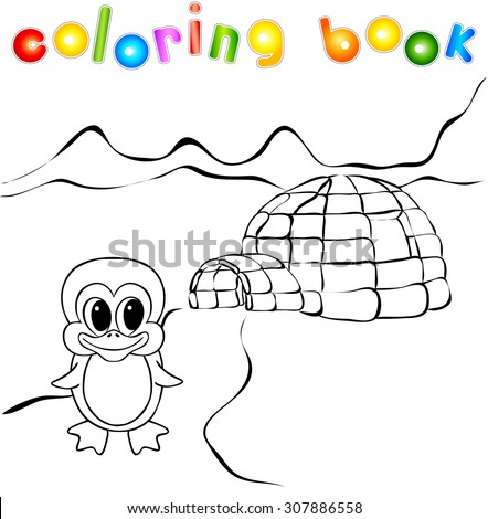 Penguin, ice yurt igloo and nothern lights coloring book. Illustration
