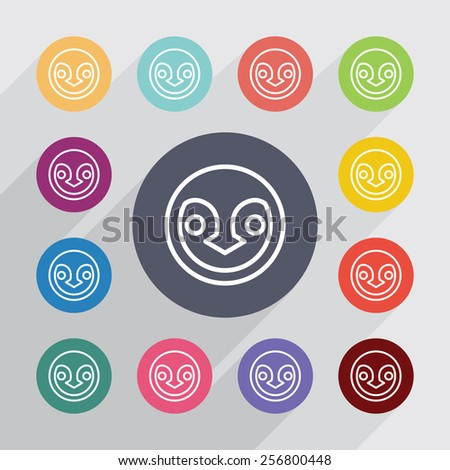 penguin outline circle, flat icons set. Round colorful buttons