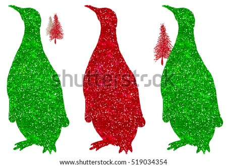 Penguin Red Green Glitter Christmas Holiday Sparkle Silhouette
