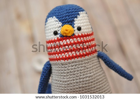 Penguin Toy Knitted Technique Knitting Amigurumi Stock Photo