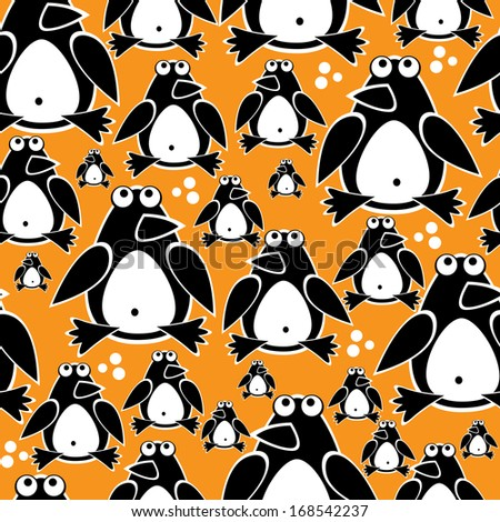 penguins cute seamless pattern