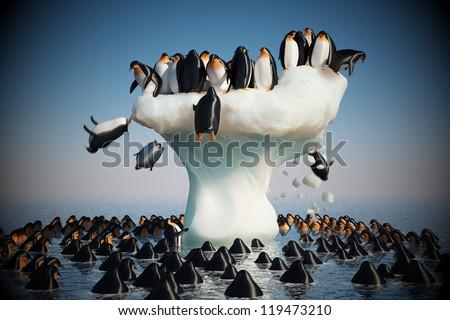 Penguins falling from the melting iceberg - stock photo