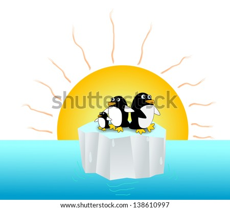 Penguins live on tiny iceberg floating in the ocean under the hot sun ray