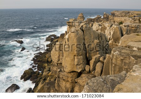 Peniche Peninsula has a variety of rock formations and cliffs bathed by the waters of the Atlantic Ocean.  - stock photo