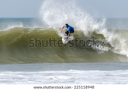 PENICHE, PORTUGAL - OCTOBER 19, 2014: Bret Simpson (USA) during the Moche Rip Curl Pro Portugal, Men's World Championship Tour #10.