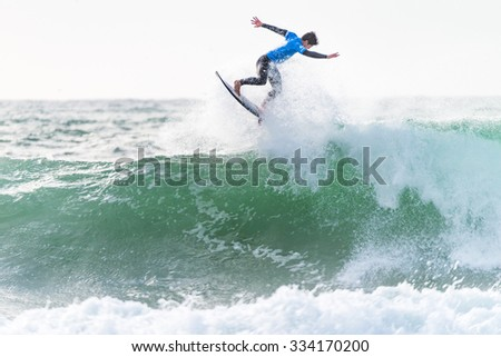 PENICHE, PORTUGAL - OCTOBER 30, 2015: Gabriel Medina (BRA) during the Moche Rip Curl Pro Portugal, Men's Samsung Galaxy Championship Tour #10.