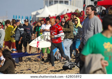 PENICHE, PORTUGAL - OCTOBER 11 :Kelly Slater(USA) in Men's Rip Curl Pro Portugal 2010, October 11, 2010 in Peniche, Portugal - stock photo