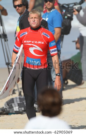 PENICHE, PORTUGAL - OCTOBER 12 :Mick Fanning (AUS) in Men's Rip Curl Pro Portugal 2010, October 12, 2010 in Peniche, Portugal - stock photo