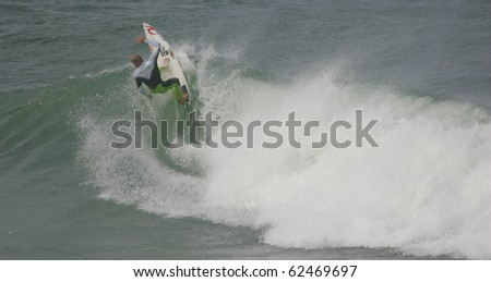 PENICHE, PORTUGAL - OCTOBER 05 : Mick Fanning (AUS) in Practice to Rip Curl Pro 2010 October 5, 2010 in Peniche, Portugal - stock photo