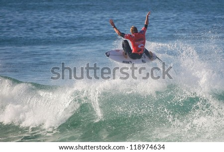 PENICHE, PORTUGAL - OCTOBER 13 : Mick Fanning (AUS) in Rip Curl Pro Peniche 2012 October 13, 2012 in Peniche, Portugal - stock photo