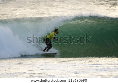 PENICHE, PORTUGAL - OCTOBER 14 : Travis Logie (ZAF) during the Rip Curl men's Pro Portugal, October 14, 2012 in Peniche, Portugal - stock photo