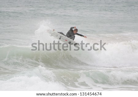 PENICHE, PORTUGAL - OCTOBER 14 : Unidentified surfer during the Rip Curl men's Pro Portugal, October 14, 2012 in Peniche, Portugal - stock photo