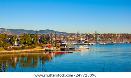 Peninsula Bygdoy in Oslo. Norway. Houses and yachts - stock photo