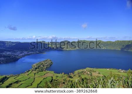 Peninsula on Lagoa Azul, landscape of San Miguel island, Azores, Portugal - stock photo