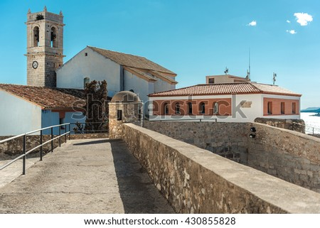 Peniscola castle or Castillo del Papa Luna, located on the highest point of the city. Costa del Azahar, province of Castellon, Valencian Community. Spain - stock photo