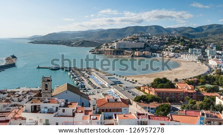 Peniscola South Beach and Harbor in Castellon, Spain - stock photo