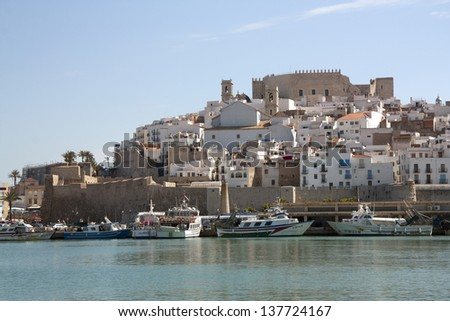 PENISCOLA, SPAIN - MAY 02: View of Peniscola, a typical summer destination facing Mediterranean Sea in Castell�³n, on May 02, 2013 in Peniscola, Spain.