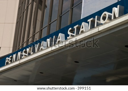 Penn Station sign - stock photo