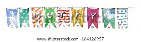 Pennant Banner, Party flags, Merry Christmas lettering