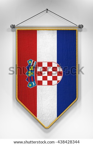 Pennant with Croatian flag. 3D illustration with highly detailed texture. - stock photo