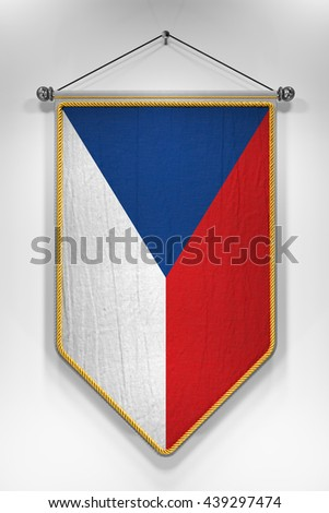 Pennant with Czech flag. 3D illustration with highly detailed texture. - stock photo