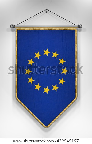 Pennant with European Union flag. 3D illustration with highly detailed texture.
