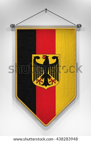 Pennant with German flag. 3D illustration with highly detailed texture. - stock photo