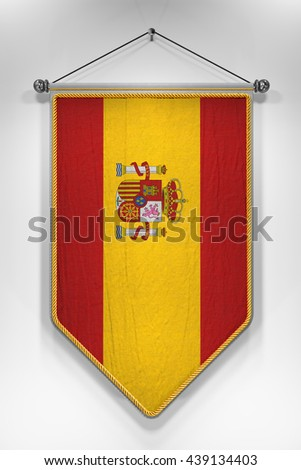Pennant with Spanish flag. 3D illustration with highly detailed texture.
