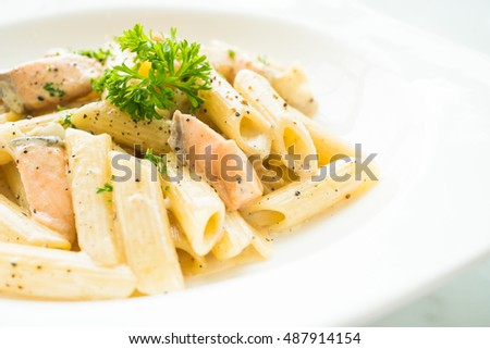 Penne Carbonara Pasta With Salmon In White Plate Italian Food Style