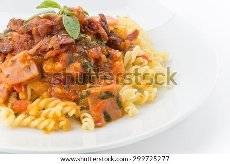 penne pasta on white background