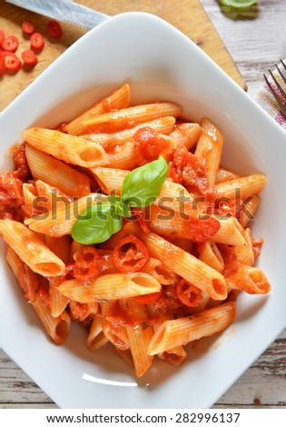 Penne pasta with chili sauce arrabiata