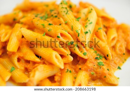 Penne Pasta with Salmon Sauce - stock photo