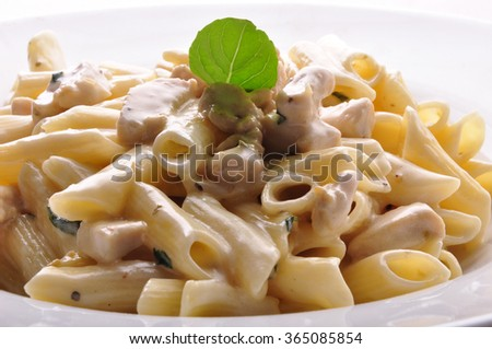 Penne pasta with white sauce - stock photo