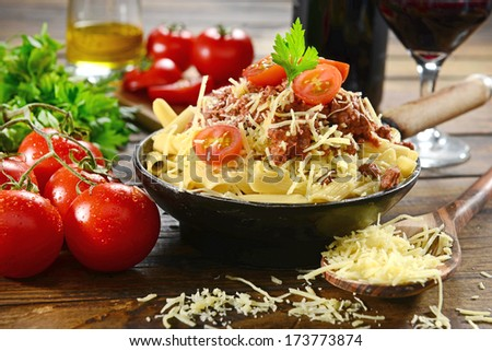 Penne wich bolognese sauce - stock photo