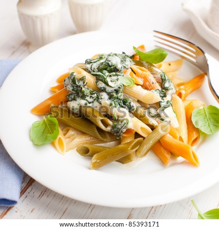 Penne with cheese cream sauce and spinach - stock photo