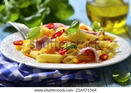 Penne with fried vegetable and smoked bacon on a white plate.. - stock photo