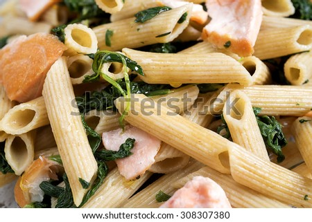PENNE WITH TUNA AND SPINACH - FOOD PHOTOGRAPHY - FITNESS MENU  - stock photo