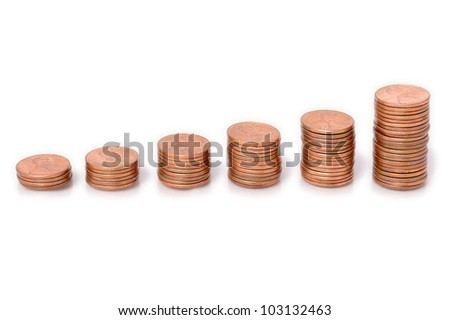 Pennies Arranged as a Bar Graph. Stacks of pennies arranged to represent a bar chart.