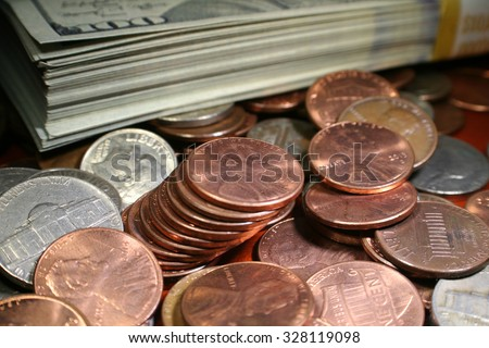 Pennies close up stock photo high quality - stock photo