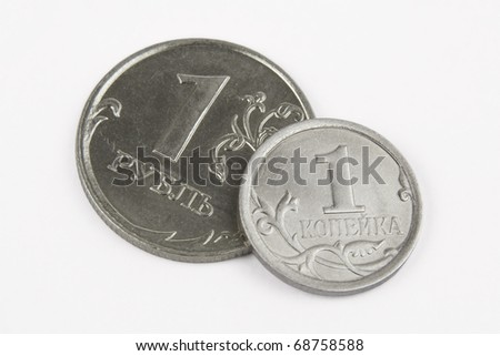 pennies on white background