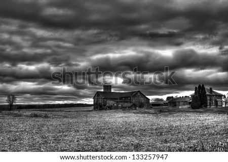 Pennsylvania farm in winter with barn