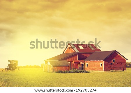 Pennsylvania Farmland With Rainy Sky - stock photo